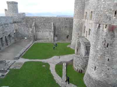 Harlech Castle - rear gatehouse and view of inner north wall