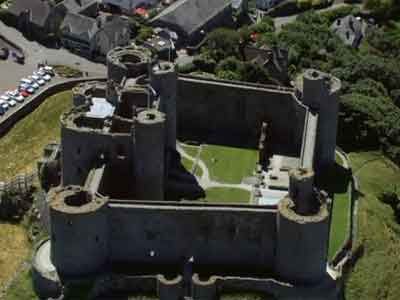 Aerial view of Harlech Castle